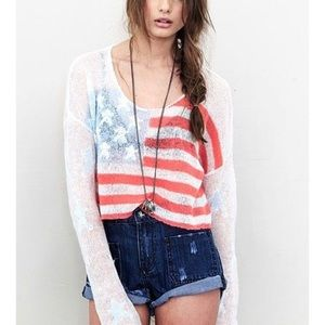 Wildfox American Flag 🇺🇸 Cropped Billy Sweater